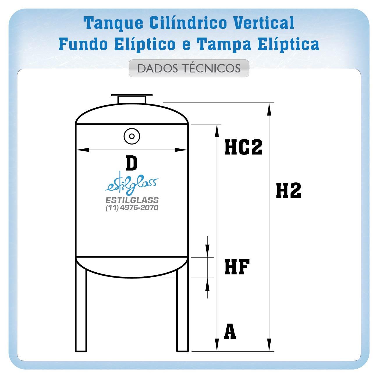 Tanque Vertical de Fibra de Vidro - PRFV - com Fundo Elíptico e Tampa Elíptica