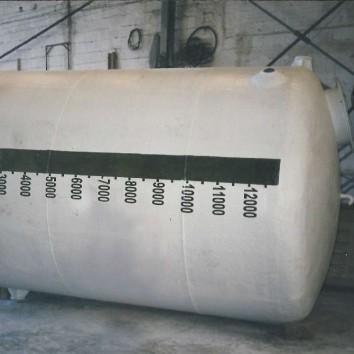 Tanque de fibra de vidro - PRFV - capacidade 12m³ para armazenamento de hipoclorito de sódio