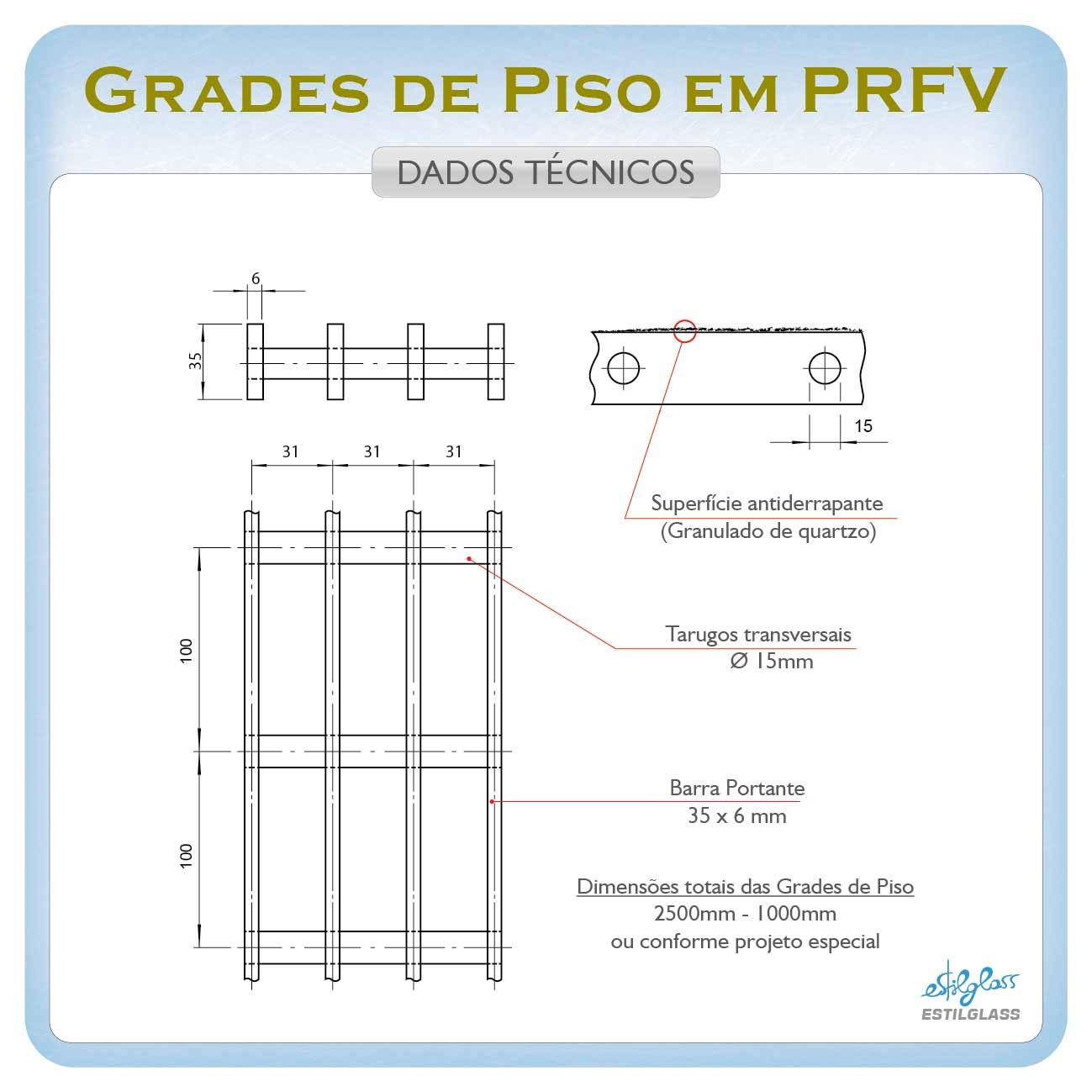 Grade para piso em PRFV